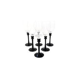 Black-Stemmed Arcoroc Wine Glasses- Set of 6