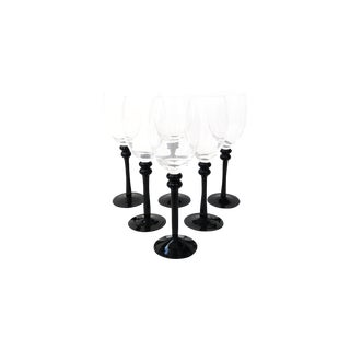 Black-Stemmed Arcoroc Wine Glasses- Set of 6