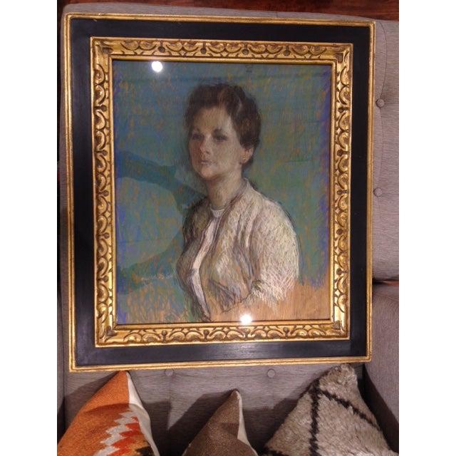 Image of Vintage 1966 Chalk Portrait of a Lady