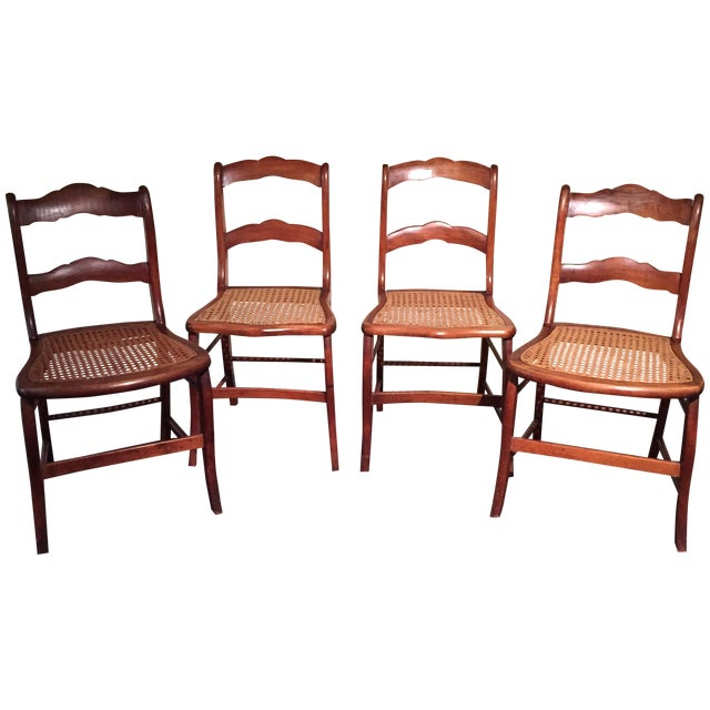 Antique Tiger Maple Chairs - Image 1 of 6