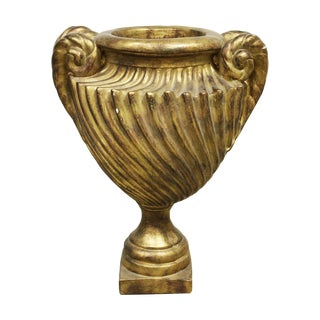 Large Grecian-Inspired Gold Plaster Planter