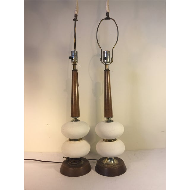 Mid-Century White Sphere Lamps - a Pair - Image 2 of 5