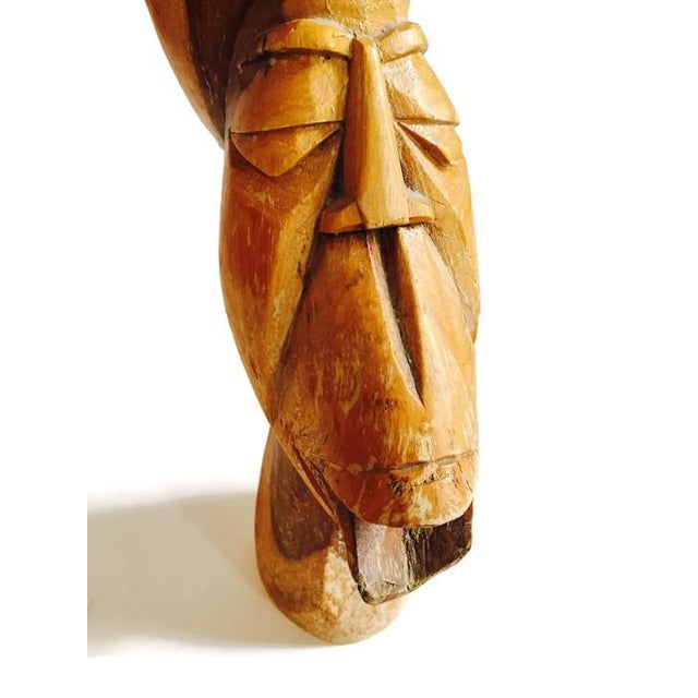 Mid Century Solid Wood Carved African Head Statue - Image 5 of 7