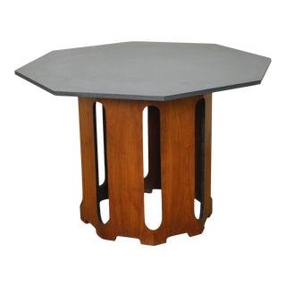 Harvey Probber Octagon Slate Top Walnut Center Dining Table