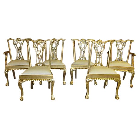 Gold Dinning Chairs - Set of 6 - Image 1 of 6