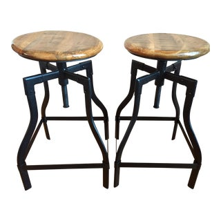 Machinist Adjustable Height Swivel Bar Stools - A Pair