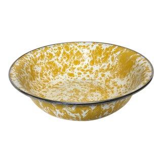 Yellow and White Enamel Sponge Ware Bowl