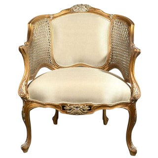Hollywood Regency Louis XV Style Gilt Bergere Chair
