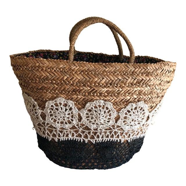 Large Boho Lined Jute Market Basket - Image 1 of 8