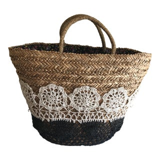 Large Boho Lined Jute Market Basket