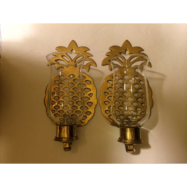 Brass Pineapple Wall Sconce Candleholders - Image 2 of 9