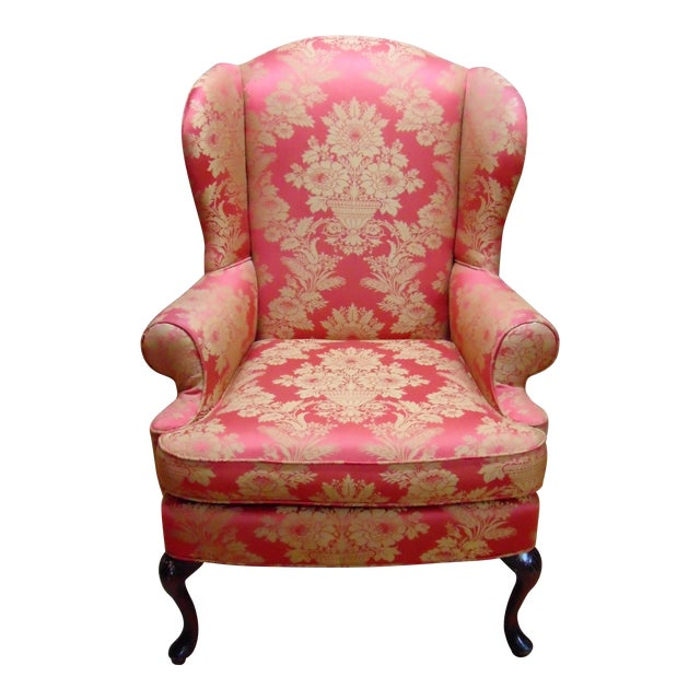 Red Damask Wingback Chair Chairish