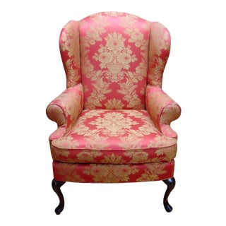 Red Damask Wingback Chair