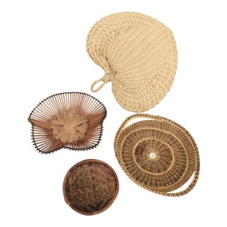 Vintage Wall Hanging Wicker Baskets - Set of 4