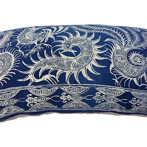 Image of Serpent Indigo Batik Fringe Pillow