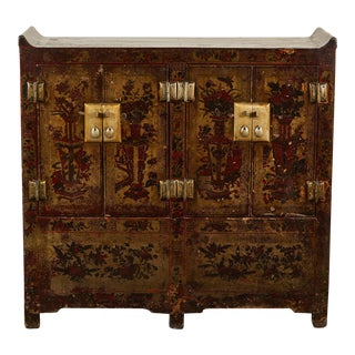 19th Century Chinese Lacquer 4-Door Cabinet