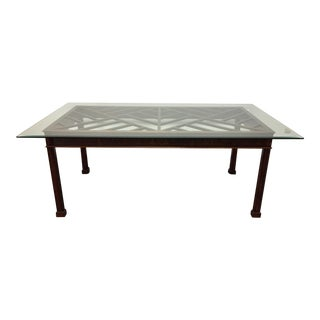 Carved Mahogany & Glass Chippendale Dining Table