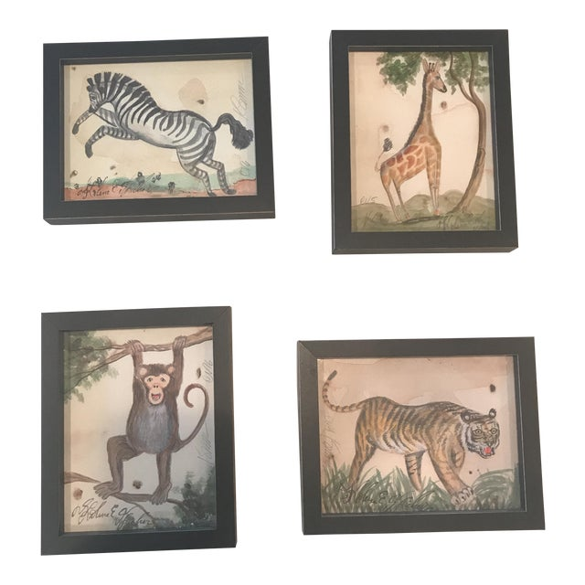 Framed Animal Watercolor Prints - Set of 4 - Image 1 of 9