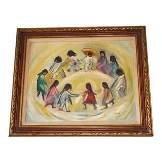 Signed Lucille Oil On Canvas Indian Children Dancing
