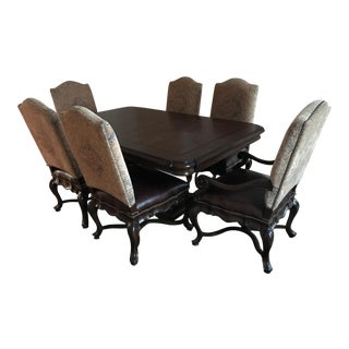 Thomasville Bibbiano Trestle Dining Table and Upholstered Chairs