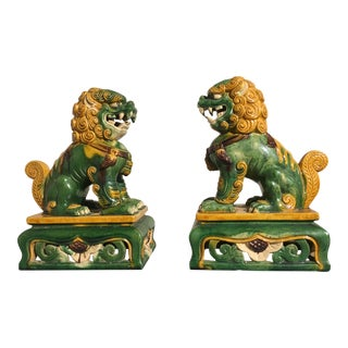 Pair of Chinese Sancai Glazed Foo Lions, 1920's