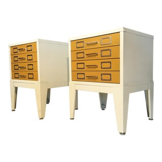 Metal Cabinet 4-Drawer Nightstands in the Style of George Nelson- A Pair