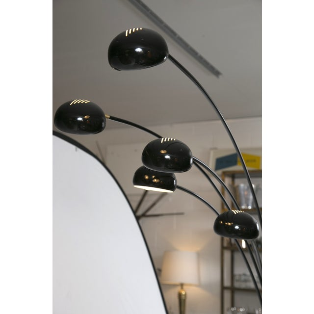 mid century five light black hydra arc floor lamp chairish. Black Bedroom Furniture Sets. Home Design Ideas