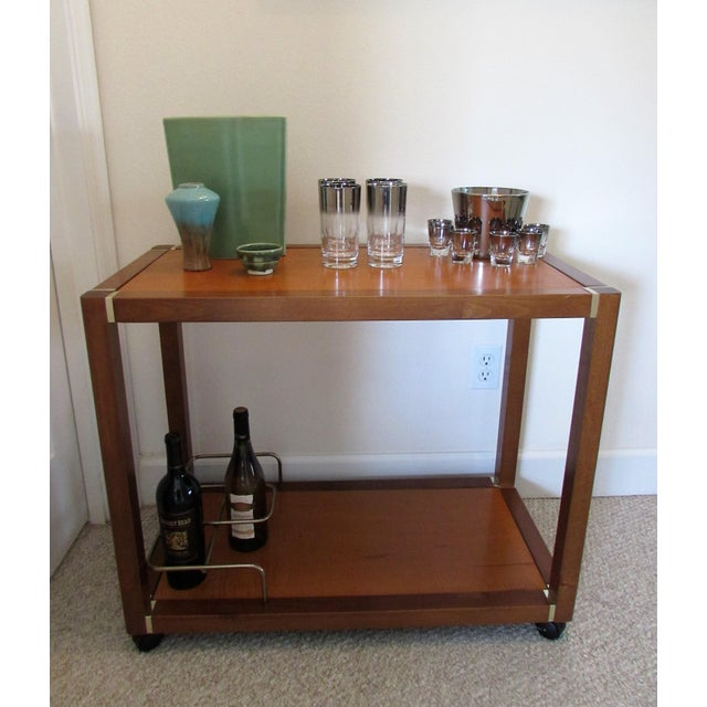 Mid Century Wood & Brass Bar Cart - Image 9 of 10