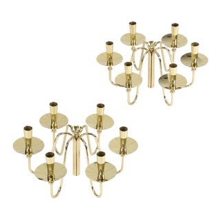 PAIR OF TOMMI PARZINGER BRASS CANDELABRA