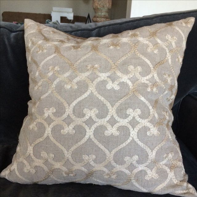 Embriordered Linen Geometric Pillow - Image 3 of 5