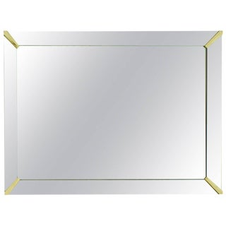 French Mirror Frame Mirror with Brass Corners, circa 1940