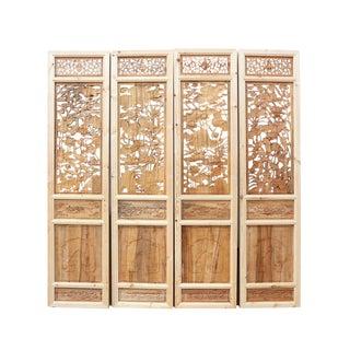 Carved Lotus Pond Panels - Set of 4