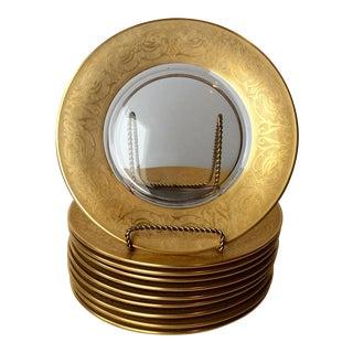 Vintage Glastonbury Georgian Gold Encrusted Lotus Luncheon Plates - S/10