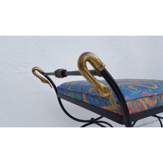 Italian Brass Swan Motif Stools - A Pair - Image 6 of 11