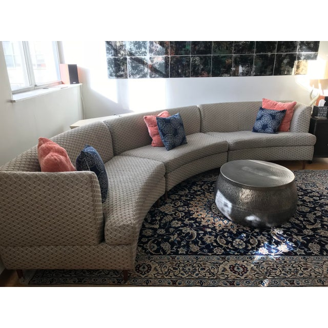 Curved Keller-Williams Vintage Mid Century Sectional Sofa - 3 Pieces - Image 7 of 9