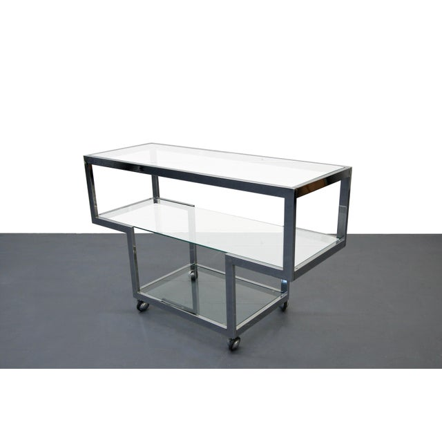 Milo Baughman Mid-Century Chrome & Glass Bar Cart - Image 3 of 4