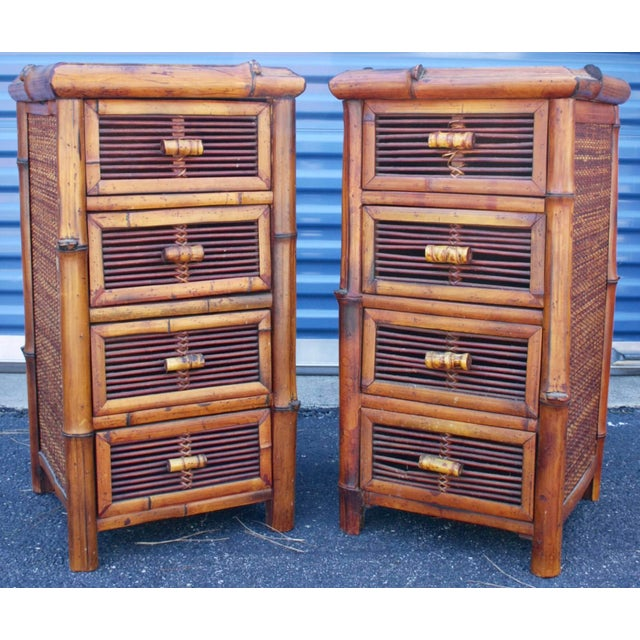 Bamboo Wicker Chests of Drawers / Nightstands - a Pair - Image 2 of 8