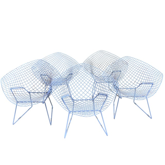Harry Bertoia Mid-Century White Chairs - Set of 5 - Image 1 of 11