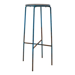 High French Stool with Thin Blue Lacquered Metal Frame