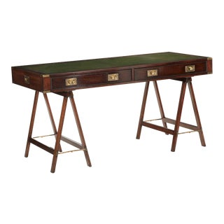 English Campaign Style Brass and Leather Writing Table Desk, 20th Century