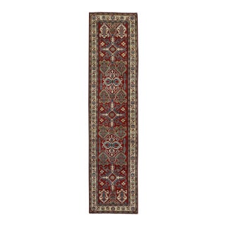 "Kazak Garish Jewell Red Ivory Wool Rug - 2'8"" x 11'0"""