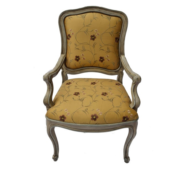 Image of Hand Painted Arm Chair with Silk Upholstery