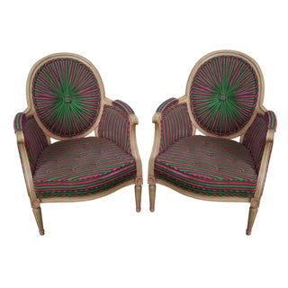 Vintage Colorful Pinwheel Back French Louis XVI Bergere Chairs - Pair