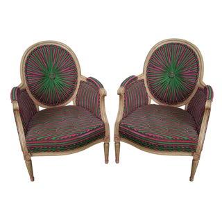 Vintage Colorful Pinwheel Back French Louis XVI Bergere Chairs - Pair
