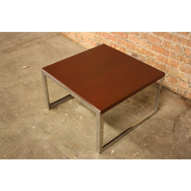 Knoll chrome wood side table chairish