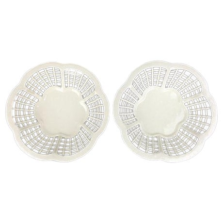 White Lattice Creamware Baskets - A Pair - Image 1 of 3