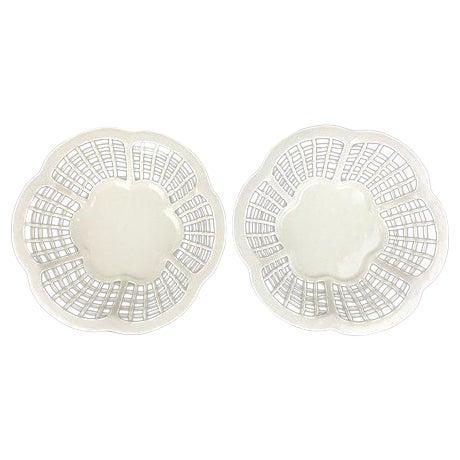 Image of White Lattice Creamware Baskets - A Pair