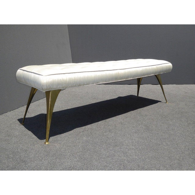 Jonathan Adler Mid-Century Modern Style Bench with Brass Legs - Image 2 of 11