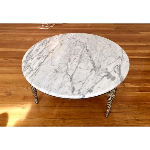 Image of Round Marble Top Greek Key Patterned Coffee Table