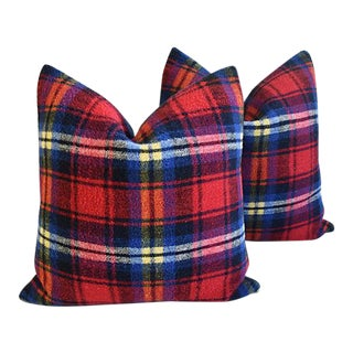 Custom Tailored Scottish Tartan Plaid Wool Feather/Down Pillows - Pair